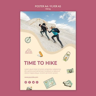 Let's go hiking poster template