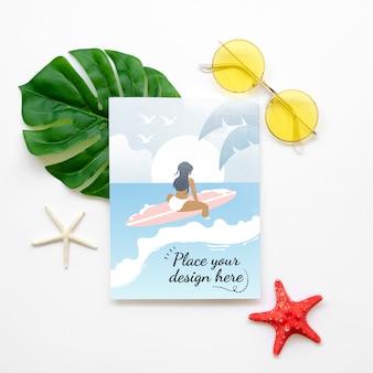 여행 모형 및 인사말 카드를 가자 무료 PSD 파일