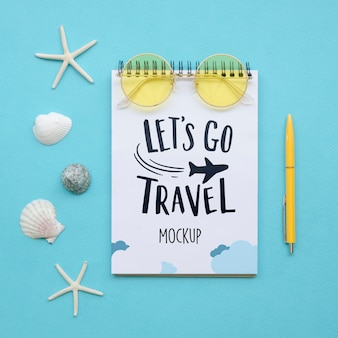 Let's go travel mock-up with seashells