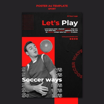 Let's play soccer poster template