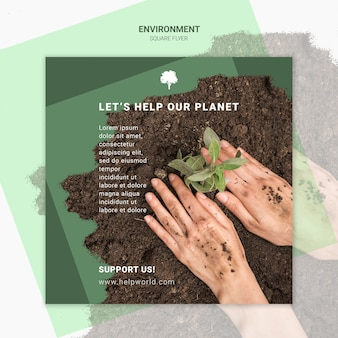 Let's save the earth square poster template