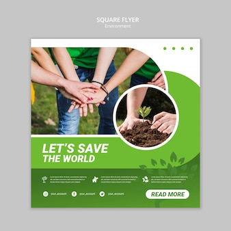 Let's save the world square flyer template
