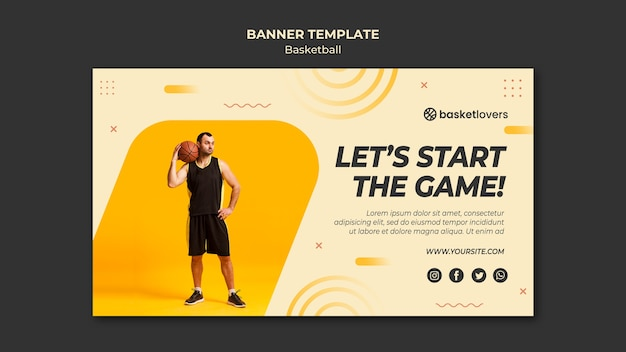 Let's start the game basketball banner web template