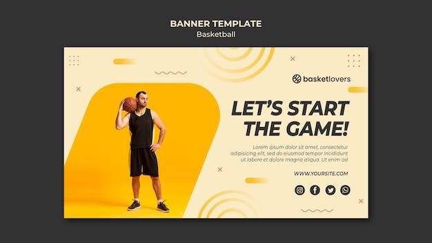 Давайте начнем игру баскетбол баннер веб-шаблон