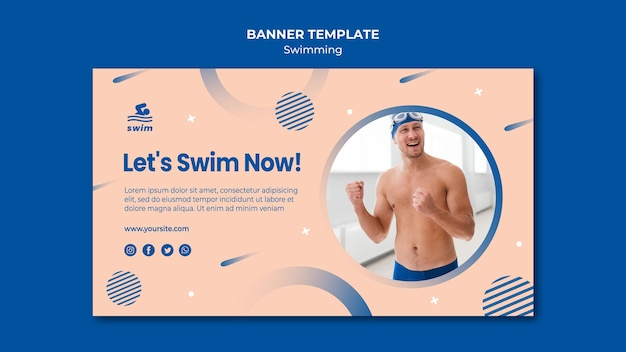 Let's swim now banner template