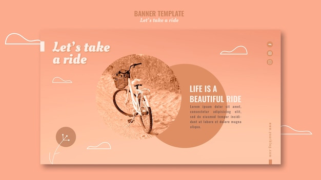 Let's take a ride banner template with photo