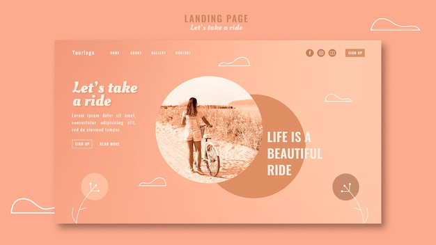 Let's take a ride landing page template