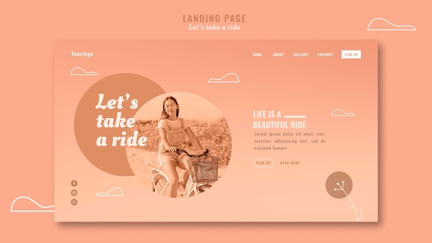Let's take a ride landing page with photo