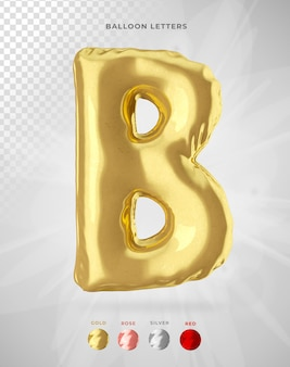 Letter b in 3d rendering of balloon isolated