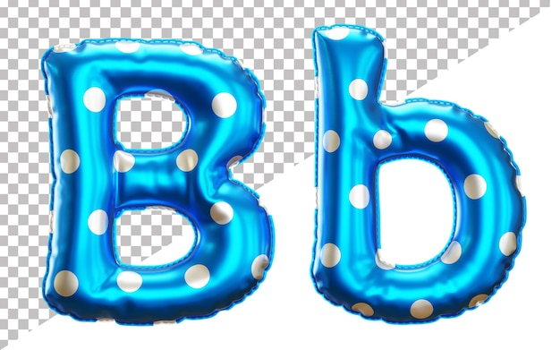 Letter b polka dot foil balloon alphabet in 3d style uppercase and lower case