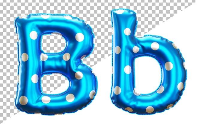 letter b polka dot foil balloon alphabet in 3d style uppercase and lower case