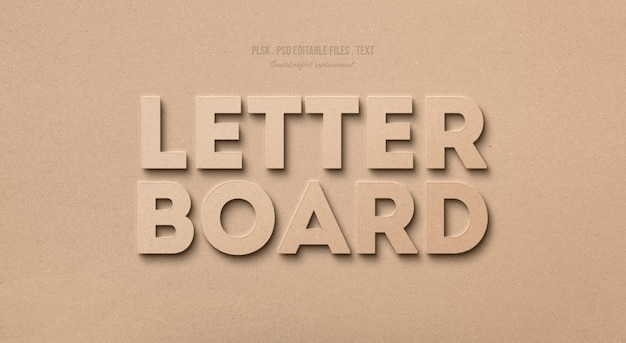 Letter board 3d text style effect
