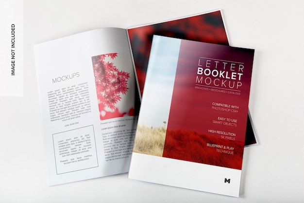 Letter booklet cover and spread mockup