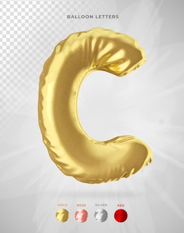 Letter c in 3d rendering of balloon isolated