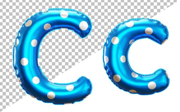 대문자와 소문자가있는 문자 c 폴카 도트 헬륨 호일 풍선 알파벳
