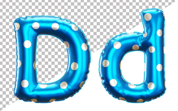 Letter d alphabet in 3d rendering with upper case and lower case