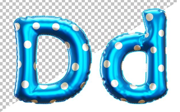 Буква d алфавит в 3d-рендеринге с верхним и нижним регистром