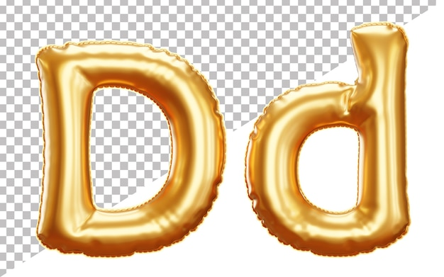 Letter d gold foil balloon alphabet in 3d style uppercase and lower case