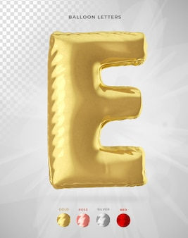Letter e in 3d rendering of balloon isolated