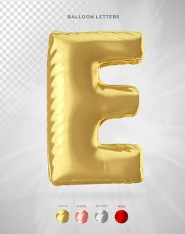 Буква e в 3d-рендеринге воздушного шара изолирована