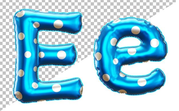 Буква e алфавит из фольги в горошек в верхнем и нижнем регистре в стиле 3d