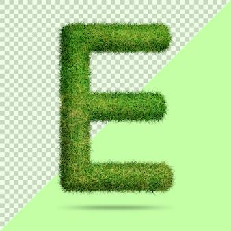 Буква e с реалистичной 3d травой