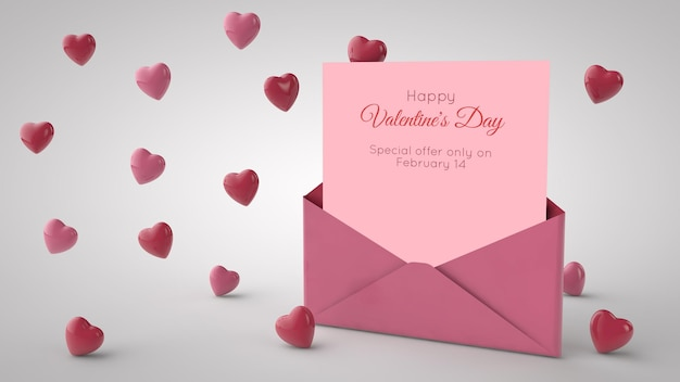 Letter in an envelope and red hearts. 3d illustration. valentine's day mockup