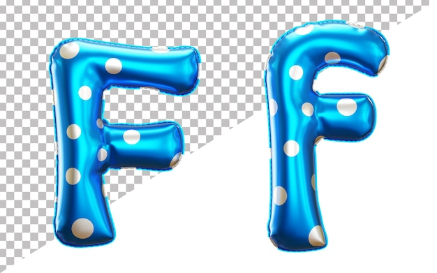 Letter f alphabet in 3d rendering with upper case and lower case