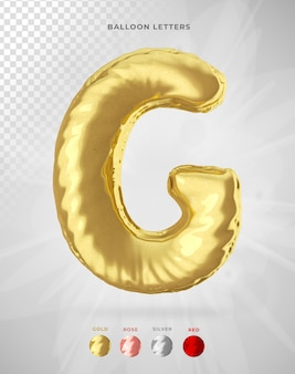 Letter g in 3d rendering of balloon isolated
