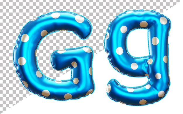 Letter g polka dots helium foil balloon alphabet with upper case and lower case