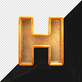 현실적인 금속 질감 전면 보기와 문자 h 3d 렌더링