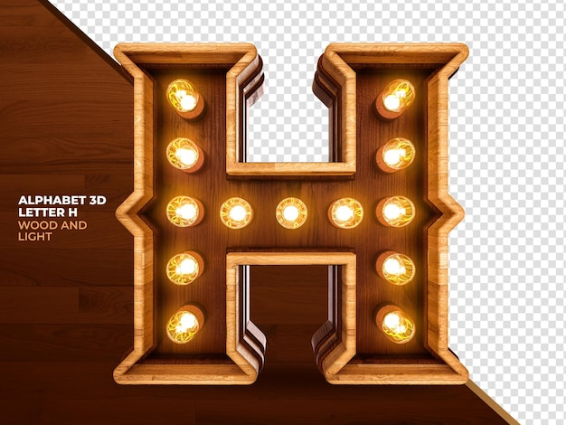 Letter h 3d render wood with realistic lights
