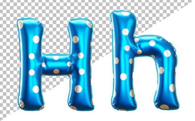 Letter h polka dot foil balloon alphabet in 3d style uppercase and lower case