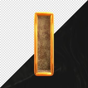 현실적인 금속 질감 전면 보기가 있는 문자 i 3d 렌더링