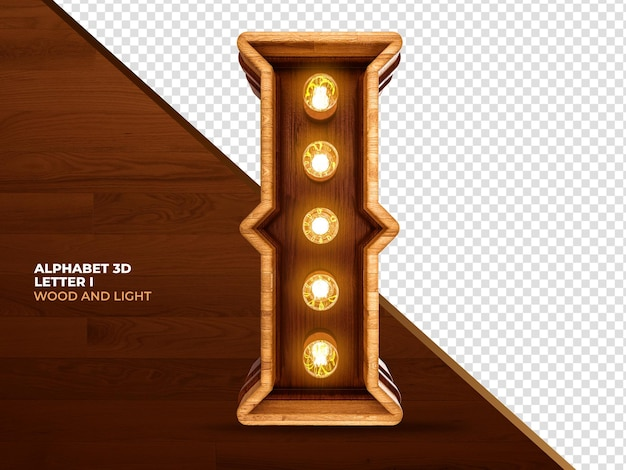 Letter i 3d render wood with realistic lights