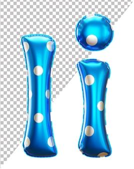 Буква i алфавит из гелиевой фольги в горошек с прописными и строчными буквами