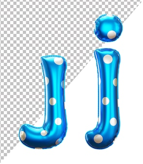 Letter j alphabet in 3d rendering with upper case and lower case