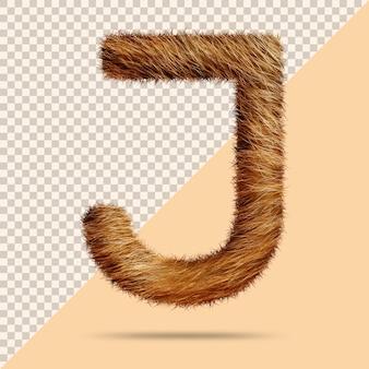 Буква j с реалистичным 3d мехом