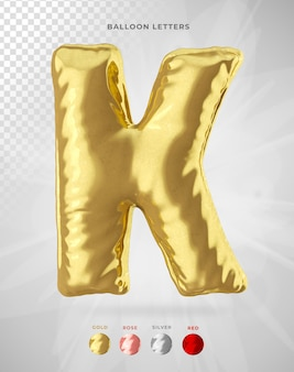 Letter k in 3d rendering of balloon isolated