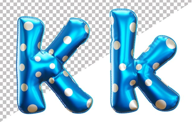 Letter k polka dots helium foil balloon alphabet with upper case and lower case