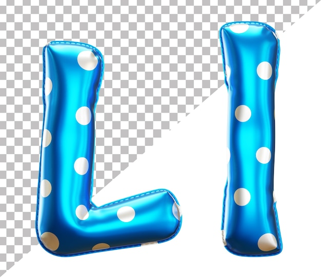 Letter l polka dot foil balloon alphabet in 3d style uppercase and lower case