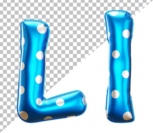 Буква l алфавит из фольги в горошек в верхнем и нижнем регистре в стиле 3d