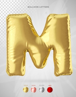 Letter m in 3d rendering of balloon isolated