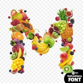 Letter m, fruit font symbol
