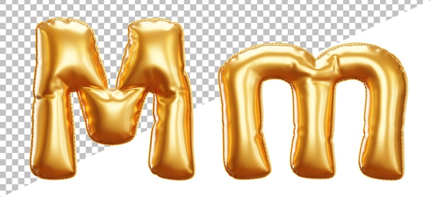 Letter m gold foil balloon alphabet in 3d style upper case and lowercase