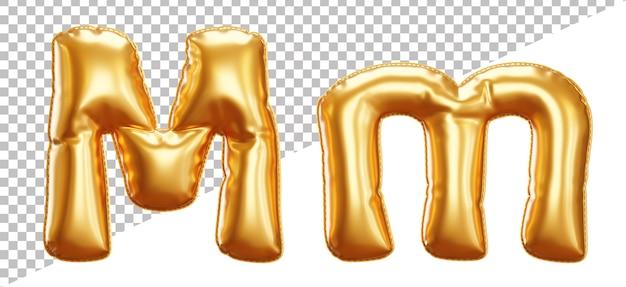 Буква m алфавит из золотой фольги в верхнем и нижнем регистре в стиле 3d