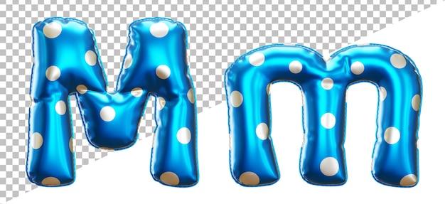 Буква m в горошек алфавит из гелиевой фольги с прописными и строчными буквами