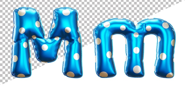 Letter m polka dots helium foil balloon alphabet with uppercase and lowercase