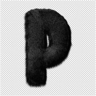 Буква из меха норки в 3d-рендеринге