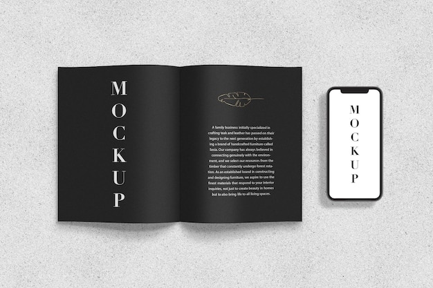 Letter magazine and smartphone mockup